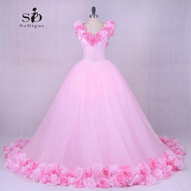 Wedding Dress Princess Luxury Pink Flowes Bridal Gown Romantic