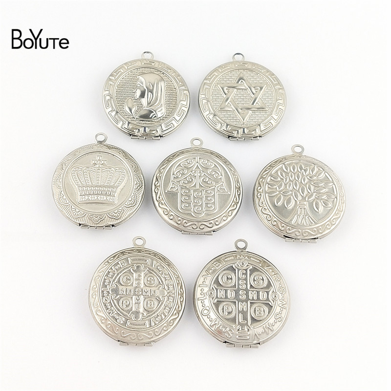 BoYuTe New Arrive Stainless Steel Jewelry Pendant Round 31MM Memory Locket Photo Locket Pendant (4)
