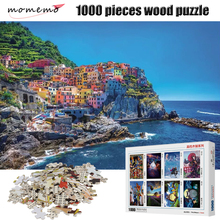 MOMEMO Color Town 1000 Pieces Puzzle 2mm Thick Adult Wooden Puzzle 1000 Pieces Landscape Figure Jigsaw Puzzles Children Toys momemo the ancient maps 1000 pieces wooden puzzle 2mm thick jigsaw puzzles adult assembling 1000 pieces jigsaw puzzle toys