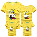 I love my Family T Shirts Summer Family Matching Clothes Father Mother Kids Children Outfits New Cotton Tees Free Shipping DC87