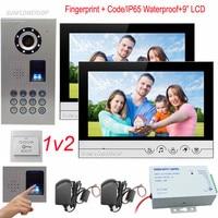 1v2 Fingerprint Keypad IP65 Waterproof Doorbell With Camera 9 Color 2 Monitors Video Call Keypad Home