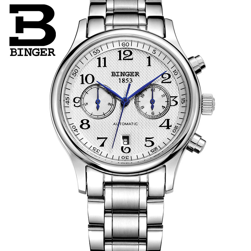 Genuine Luxury BINGER Brand Mens self-wind automatic mechanical sapphire watches fashion sports male table stainless steel 5-pin ysdx 398 fashion stainless steel self stirring mug black silver 2 x aaa