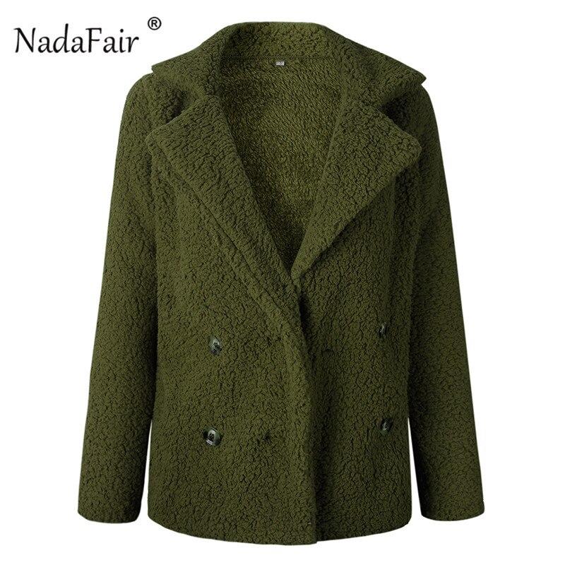 Nadafair plus size fleece faux fur jacket coat women winter pockets thicken teddy coat female plush overcoat casual outerwear 30