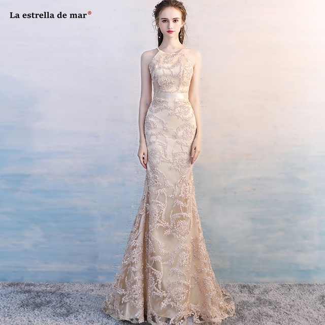 Feestjurken 2019.Gala Jurken 2019 New Champagne Color Lace Embroidered Hanging Neck