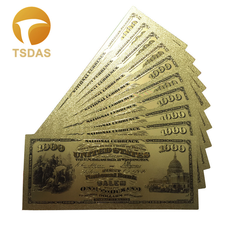 1000 Dollar America Banknotes 1875 yrs Color USA Gold Banknote 24k Gold Plated as Gifts image