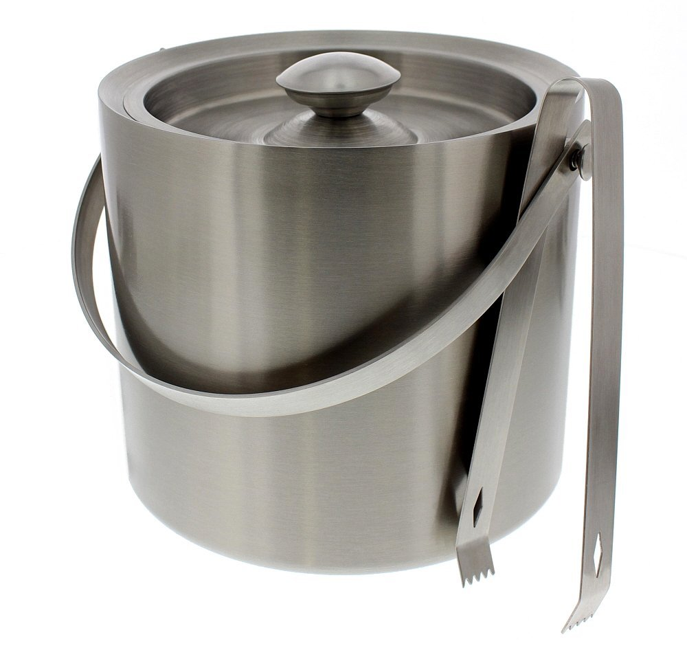 Free Shipping Stainless Steel Ice Bucket With Tongs - Silver Barware Serveware for Parties Events Gatherings