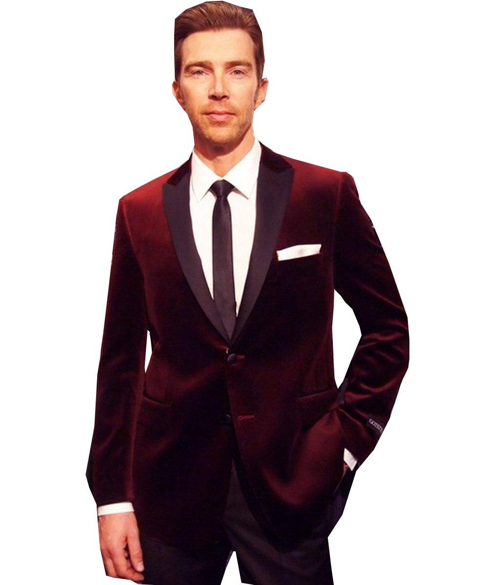 Men's Velvet Suit 2 Pieces Casual Lapel Groom Slim Fit Tuxedos Blazer Pant Set Warm Winter 2020 New Fashion