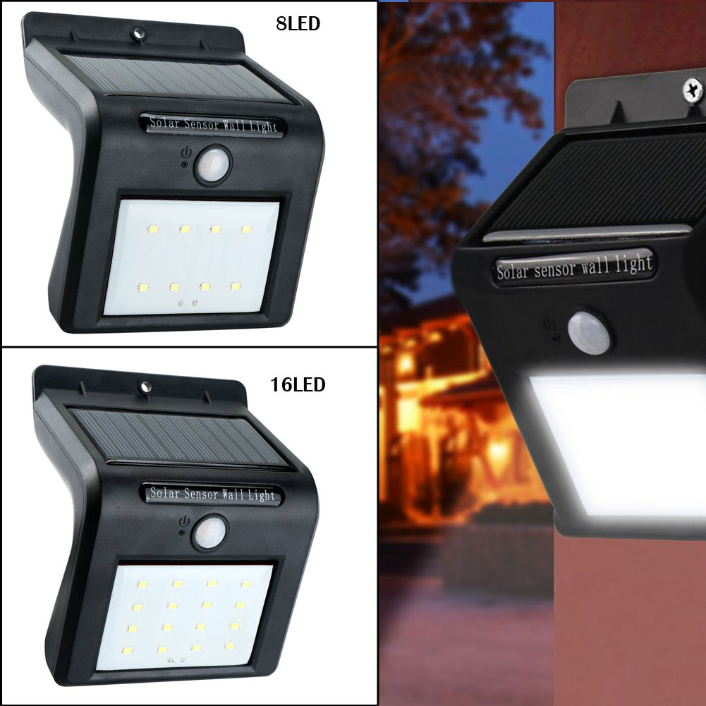 Punctual 1pc/2pcs Pir Motion Sensor Solar Power 8 Led 16 Led Wall Light Outdoor Waterproof Home Garden Yard Path Security Lamp Smd 2835 Refreshing And Beneficial To The Eyes Led Outdoor Wall Lamps