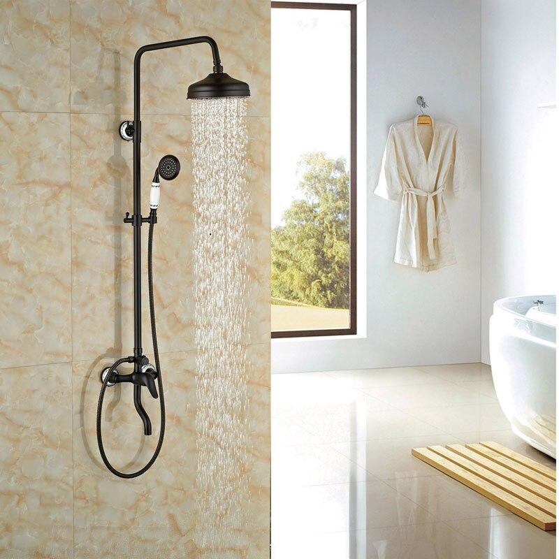 Widespread Single Lever Bathroom Shower Set Oil Rubbed Broze Rainfall Shower Set Mixer Tap