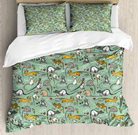 Animals Duvet,Cute Cartoon Rats with Hearts Tail Teeth Feet and Ears Lettering Urban Wildlife, Decorative 3 Piece Bedding Set