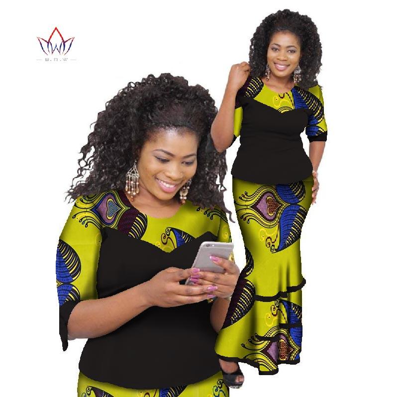 2018 Bazin Riche jupe africaine définit cire imprimer deux pièces ensemble afrique vêtements pour femmes traditionnel africain haut et jupe AT793