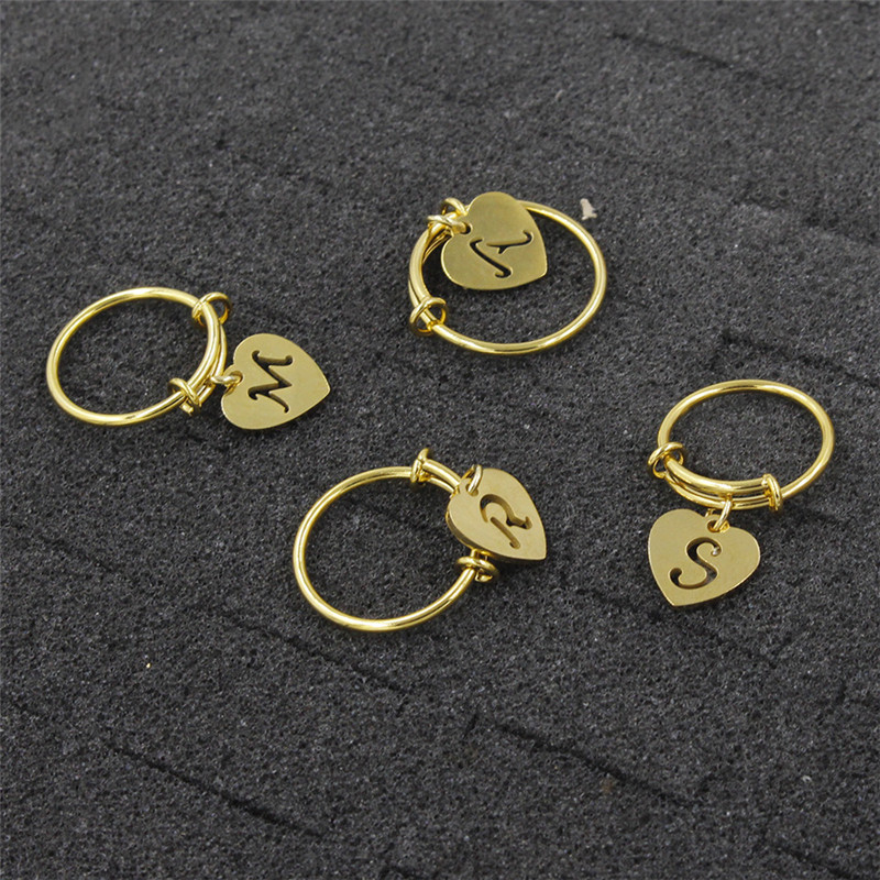 Love-Pendant-Ring Coil-Rin Letters Stainless-Steel Gold Family Couple Fashion Titanium