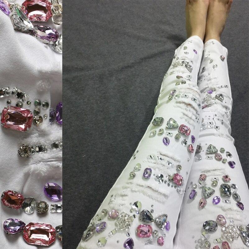 Dames Stretch Jeans Mince Denim Femmes Coton Casual Pantalon Perles Blanc Femme Diamant Belle Pour 1w7xRF1q