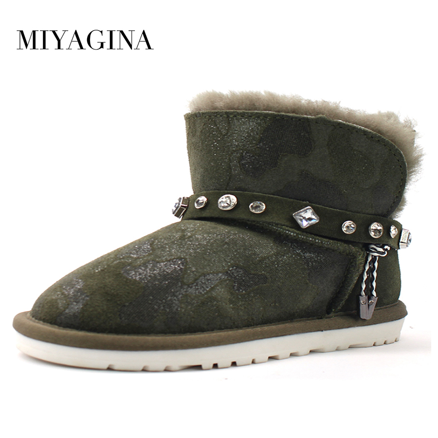 Top Quality 100% Genuine Cowhide Leather Snow Boots New Fashion Natural Fur Real Wool Winter Women Boots aiweiyi womens high quality genuine leather real fur 100