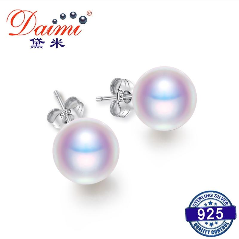 DAIMI tenyésztett gyöngy fülbevaló női 7-8mm 8-9mm-es bekezdés színes fülbevaló, 925 ezüst gyöngy fülbevaló