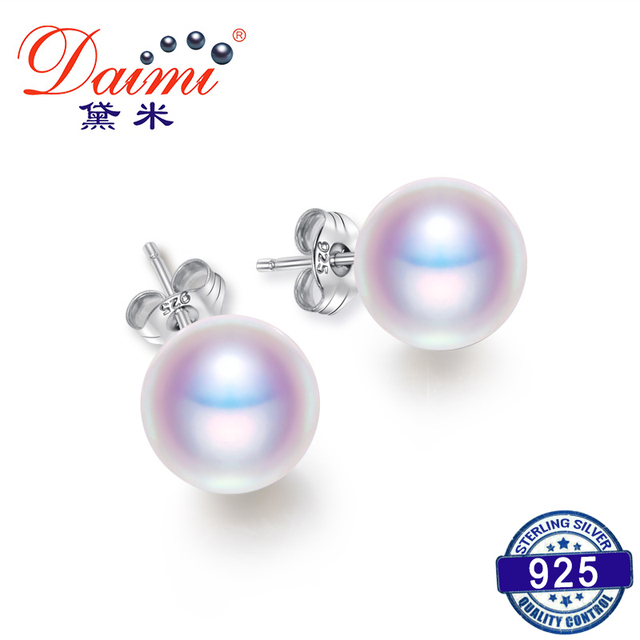 DAIMI Cultured Pearl Earrings Women 7-8mm 8-9mm Paragraph Colorful Earrings, 925 Sterling Silver Pearl Stud Earrings