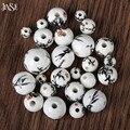 JINSE DIY Bead jóias 50 pcs mão-ponto flor de Bambu rodada Retro contas de cerâmica acessórios cor da mistura de forma aleatória CSB030