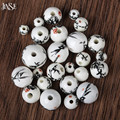 JINSE  DIY Bead jewelry 50pcs hand-point flower Bamboo round Retro ceramic beads accessories mix color at random CSB030