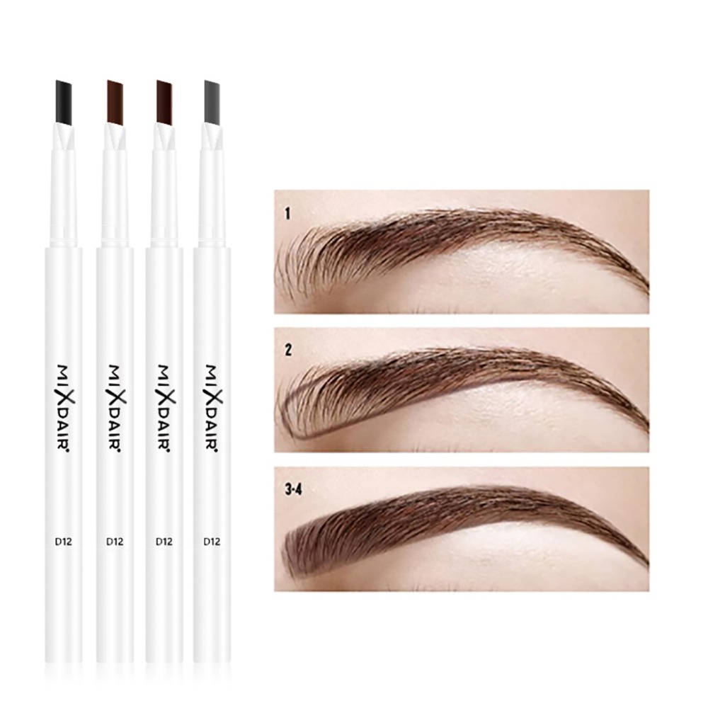 MIXDAIR dual ended eyebrow pencil with eyebrow brush fashion white apperance waterproof long lasting automatic eyebrow penMD007