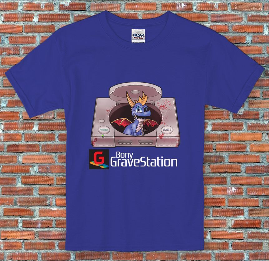 Bony GraveStation Console Spyro Parody Video Game Inspired T Shirt S M L XL 2XL New T Shirts Funny Tops Tee New Unisex Funny