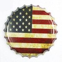 Tłoczone Okrągłe Vintage Plakietka Emaliowana 40 cm Ameryka flaga Piwo Zarejestruj Bar pub domu Ściana Decor Retro Metal Art Plakat