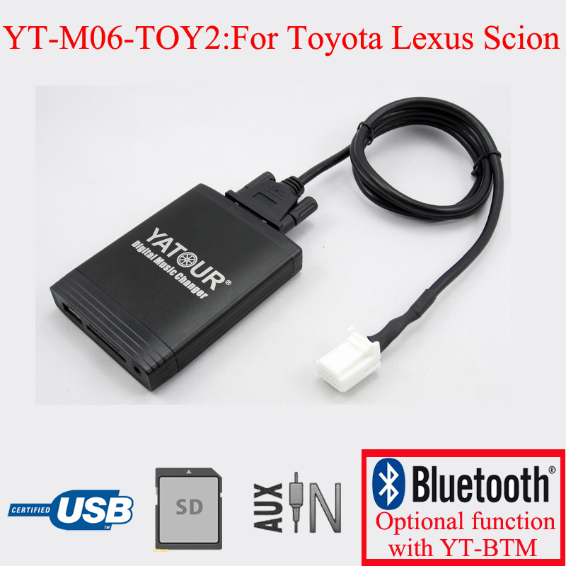 Yatour car radio USB SD AUX IN adapter for Toyota Lexus Scion 6+6PIN apps2car usb sd aux car mp3 music adapter car stereo radio digital music changer for volvo c70 1995 2005 [fits select oem radio]