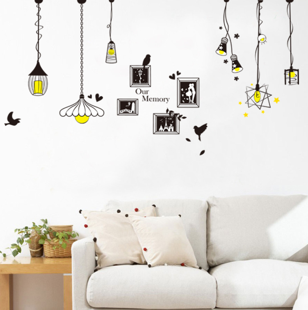 Image 4 - Creative Chandelier Photo Wall Sticker Bedroom Living Room Porch Background Decoration Sticker For Wall Decorations Living Room-in Wall Stickers from Home & Garden