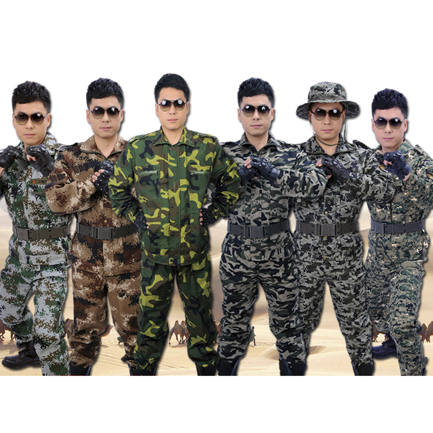 2019 Men Military Clothes Sets 2pcs Top+pants Camouflage Suit 100% Polyester Tactical Army Combat Uniform Man Militar Costumes