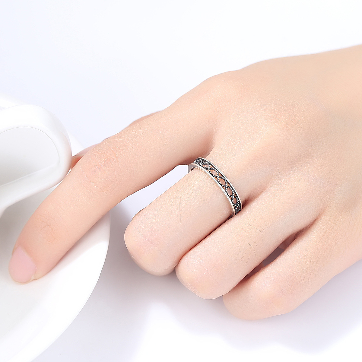 GOMAYA 100 925 Sterling Silver Personality retro Finger Rings for Women Adjustable Size Valentine Gift Jewelry in Rings from Jewelry Accessories