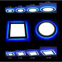 10 шт./лот 3 модели круглый квадратный синий+ белый двойной цвет светодиодный панельный светильник 6 Вт/9 Вт/16 Вт/24 Вт AC85-265V Встраиваемый светодиодный потолочный светильник