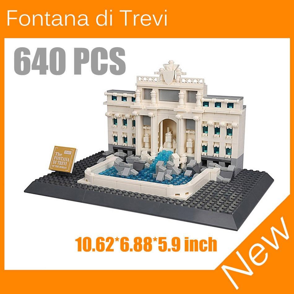 ФОТО Famous Architecture Italy Roma Fontana di Trevi Trevi Fountain Model Building Blocks Bricks Educational Toy For Kids Gift