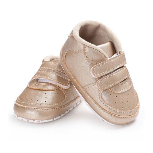 Infant Baby Boy Girl Soft Sole Crib Shoes Sneaker Newborn Gold White Black Anti Slip First Walkers Summer Spring Autumn