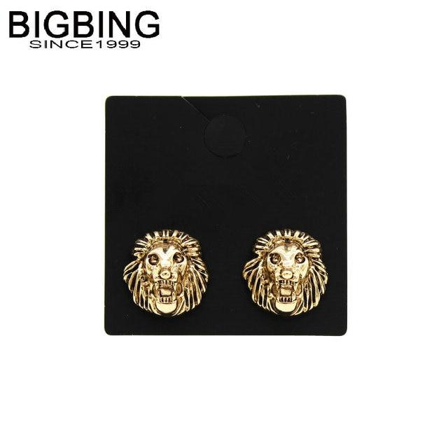 Bing Jewelry Golden Lion Head Stud Earrings Fashion Earring Free Shipping V164
