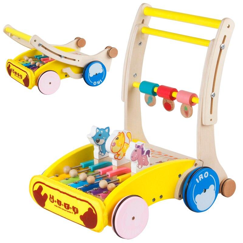 Pliez le marcheur en bois de bébé avec l'animal de bande dessinée musicale, la taille et la vitesse peuvent ajuster le marcheur de bébé, le marcheur mignon multifonctionnel de bébé