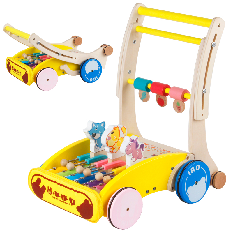 fold baby wooden walker with musical cartoon animal, height and speed can adjust baby walker, multifunctional cute baby walker
