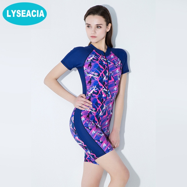 e9dad1ce9f90a LYSEACIA Short Sleeve One Piece Swimsuit Women Summer Surfing Rash Guards  Retro Swimming Body Suits Printed Swimwear 2 Colors