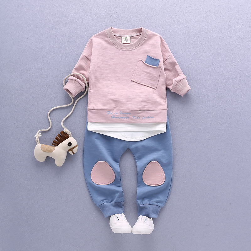 2pcs Sets 2017 Spring Baby's Sets Boys Camisetas de manga larga + - Ropa de ninos - foto 2