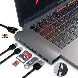 Mosible USB 3.1 Tipe-C Hub untuk HDMI Adaptor 4 K Thunderbolt 3 Usb C HUB dengan Hub 3.0 TF SD Slot Pembaca PD untuk MacBook Pro/Air 2018