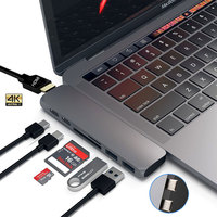 Mosible USB 3,1 type-C концентратор к HDMI адаптер 4 к Thunderbolt 3 USB C концентратор с концентратором 3,0 TF считыватель SD карт слот PD для MacBook Pro/Air 2018