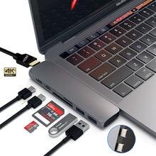 محول USB 3.1 من النوع C قابل للنقل لمهايئ HDMI 4K Thunderbolt 3 USB C Hub مع Hub 3.0 TF قارئ SD فتحة PD لـ MacBook Pro/Air 2020usb c hubtype-c hubusb 3.1 type-c hub