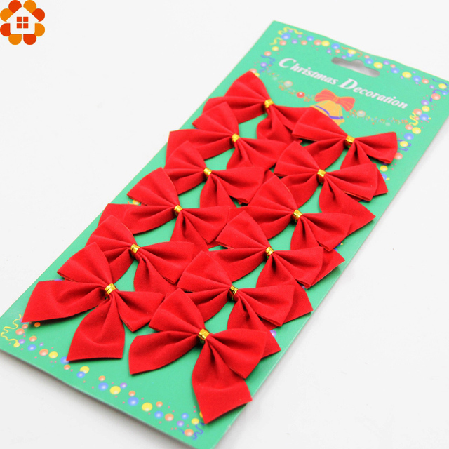 12pcs christmas bow redgoldsliver merry christmas bows diy xmas tree decor christmas party decoration festiveparty supplies