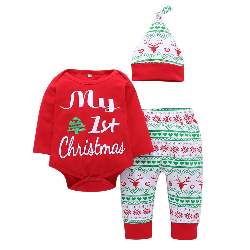 3Pcs Set Newborn Baby Boys Reindeer Long Sleeve Bodysuit Pants Hat Outfits Xmas