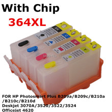 For 364 XL Refillable ink Cartridge for HP Photosmart  B209a B209c B210a B210c B210d Deskjet 3070A 3520 3522/3524 4620 printer