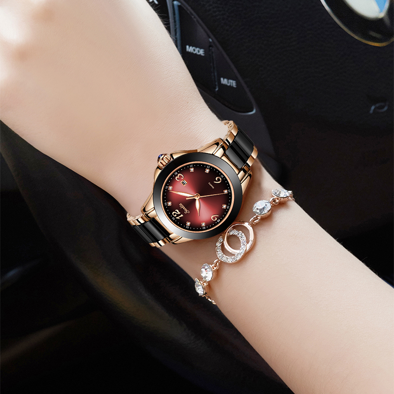 Image 5 - 2019 SUNKTA Brand Fashion Watch Women Luxury Ceramic And Alloy Bracelet Analog Wristwatch Relogio Feminino Montre Relogio ClockWomens Watches   -