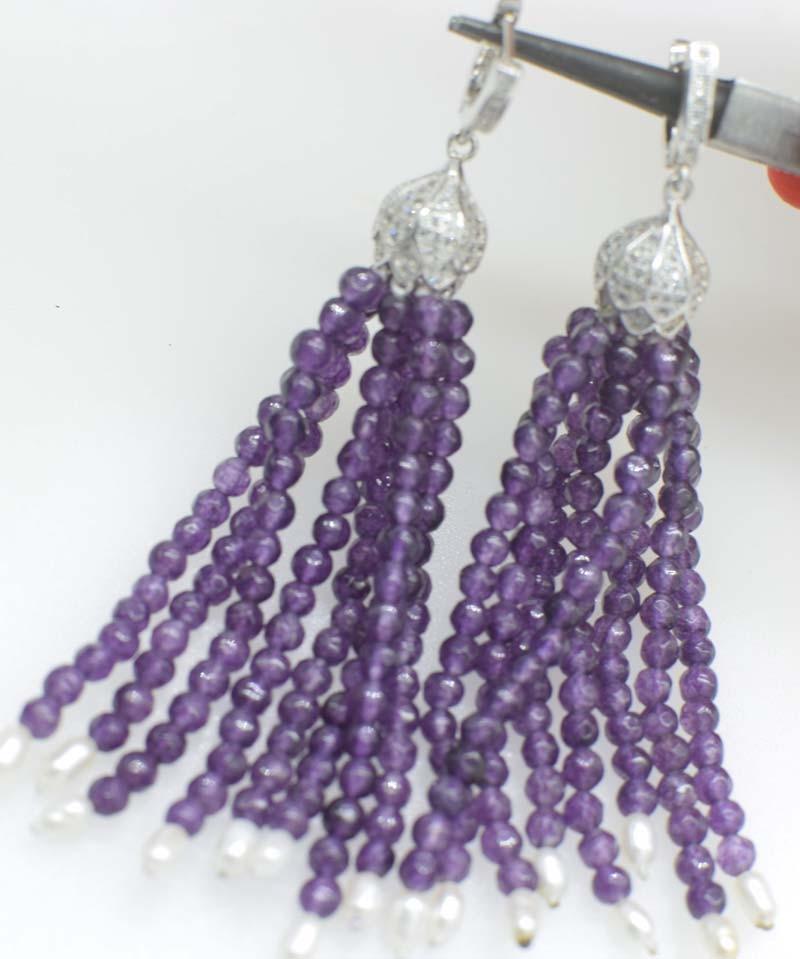 one pair purple jasper round faceted +freshwater pearl white tassle hook earrings wholesale beads FPPJ цена