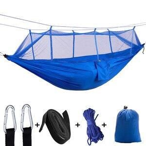 Image 5 - VILEAD 260*140 cm hamak kempingowy z komarami przenośne stabilne wysokiej wytrzymałości Cavans wiszące łóżko śpiące Camping łóżeczko