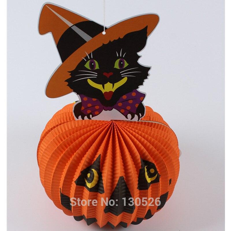 halloween decorations props paper 3d spherical pumpkin ghost bats spider hanging pendant lantern halloween outdoor decor