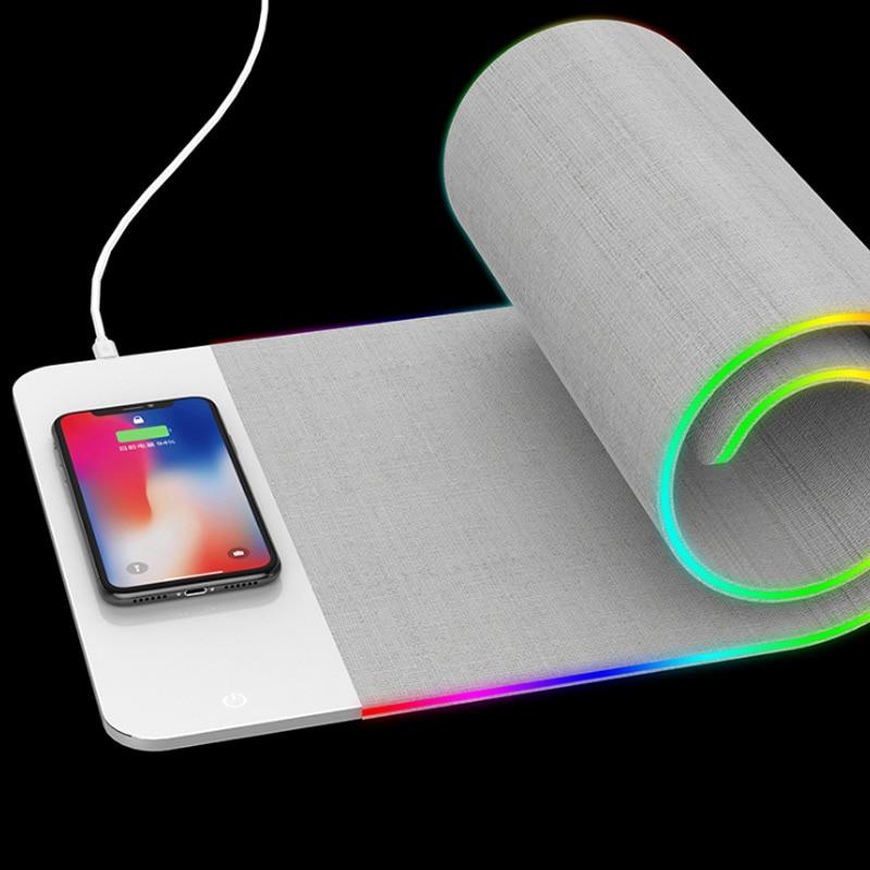 Tapis de souris 2 en 1 chargeur sans fil tapis de souris lumineux chargeur rapide pour bureau Gamer JLRJ88
