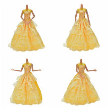 25cm DIY Chic Yellow 4 Layers Long Dress Handmade Wedding Dress Doll Dresses for Barbies(China)