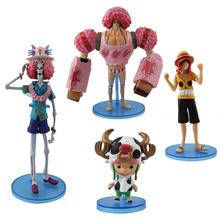 4pcs/lot Japanese Animation One Piece Luffy Chopper Franky Brook PVC Figure Free Shipping